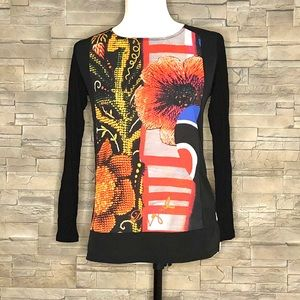 Desigual black and floral graphic top
